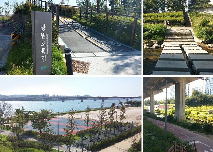 망원한강공원(성산대교), 망원초록길, 홍제천