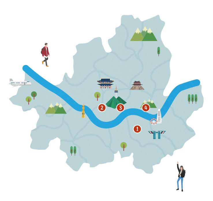 서울시 지도 위에 1~4번 코스의 관광지역 표시