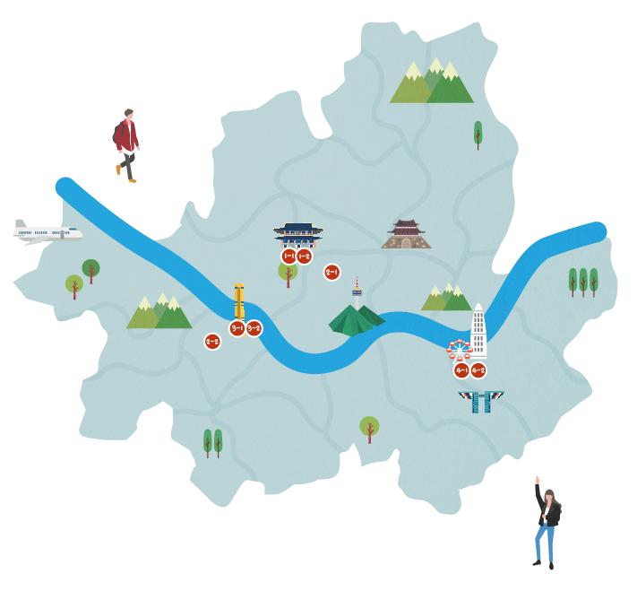 首爾地圖路線1~4景點標示