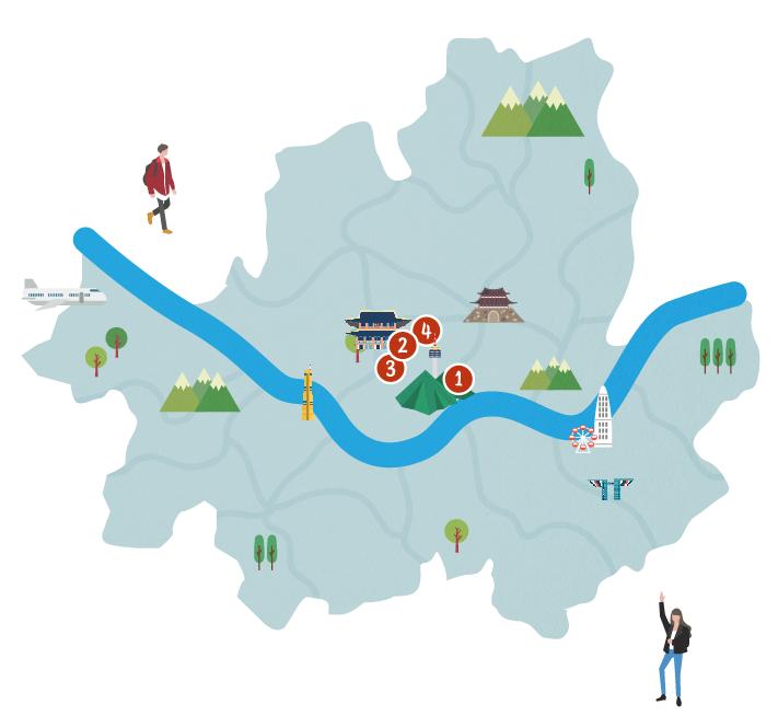 首爾市地圖標示路線1~4景點