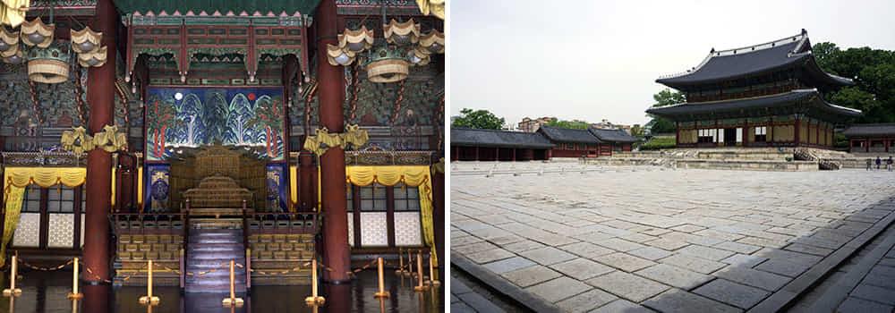 Dua gambar interior dalaman dan perkarangan Changdeokgung Palace