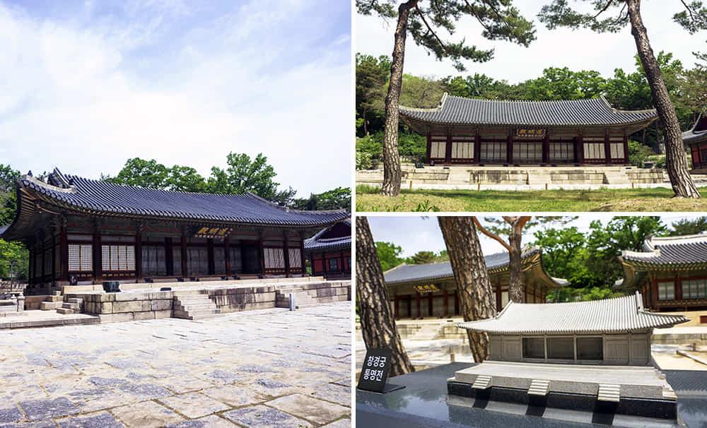 Tiga gabungan gambar bahagian luar Changgyeonggung Palace