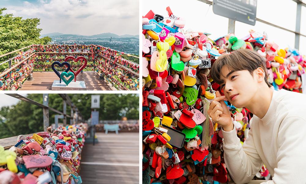 N Seoul Tower Love Locks with Cha Eun Woo