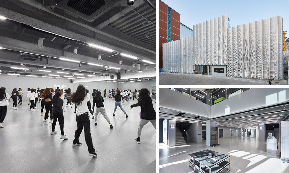 1Million Dance Studio interior and exterior with people partaking in a class