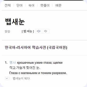 Фото поиска в словара Naver, 뱁새눈: крошечные, узкие глаза
