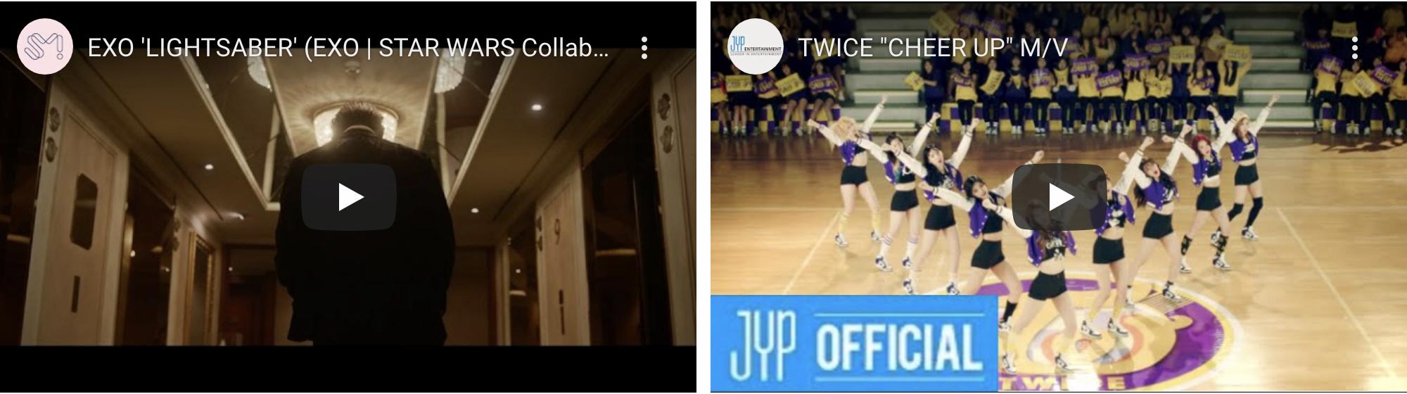 在废除的新设洞地下三层拍MV的EXO和TWICE