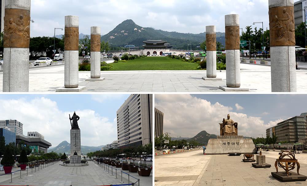 Gabungan empat gambar Gwanghwamun Swuare dari sisi berbeza