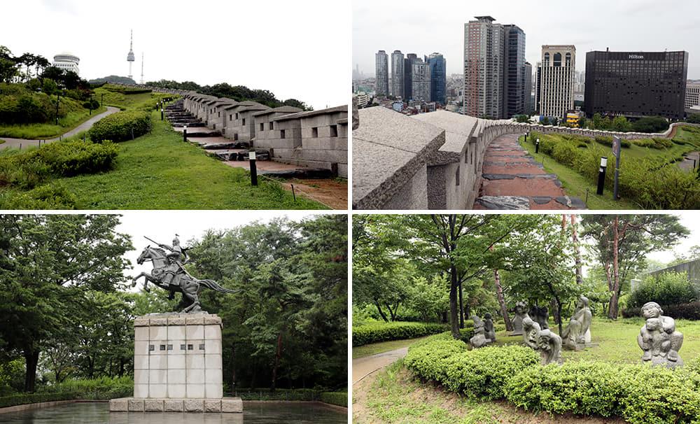 Gabungan empat gambar berbeza sudut Baekbeom Plaza, Namsan Park