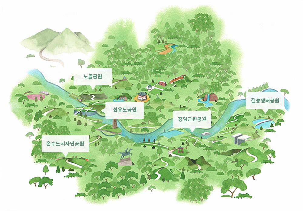 노을공원, 선유도공원, 온수도시자연공원, 청담근리공원, 길동생태공원들이 나와있는 공원 일러스트