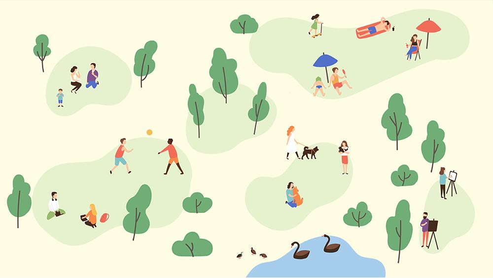 Иллюстрация парка и отдыхающих в нем людей, занимающихся различными делами
