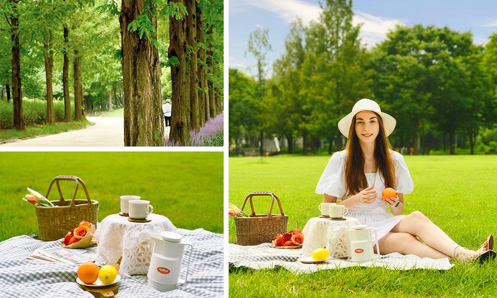 Фото Парка Сеульский Лес. Фото покрывала накрытого для пикника. Фото девушки наслаждающейся пикником на газоне в парке