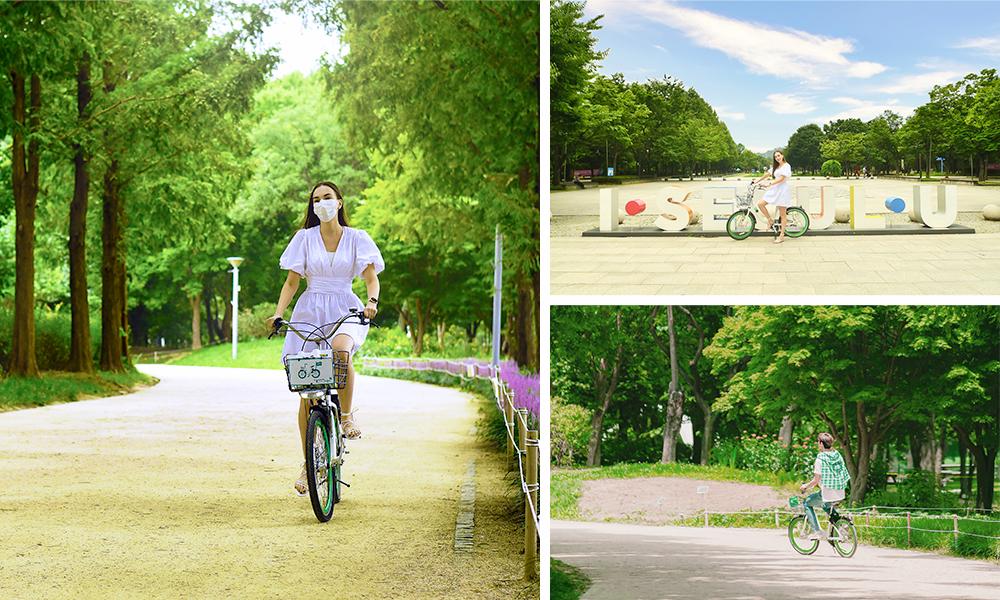 左邊:女孩在首爾林自行車騎著自行車的照片、右上:首爾林的I Seoul U造型物、右下:車銀優在首爾林自行車騎著自行車的照片