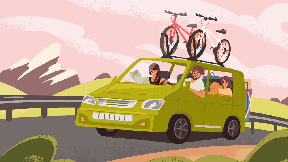 人們汽車自駕旅遊的圖片
