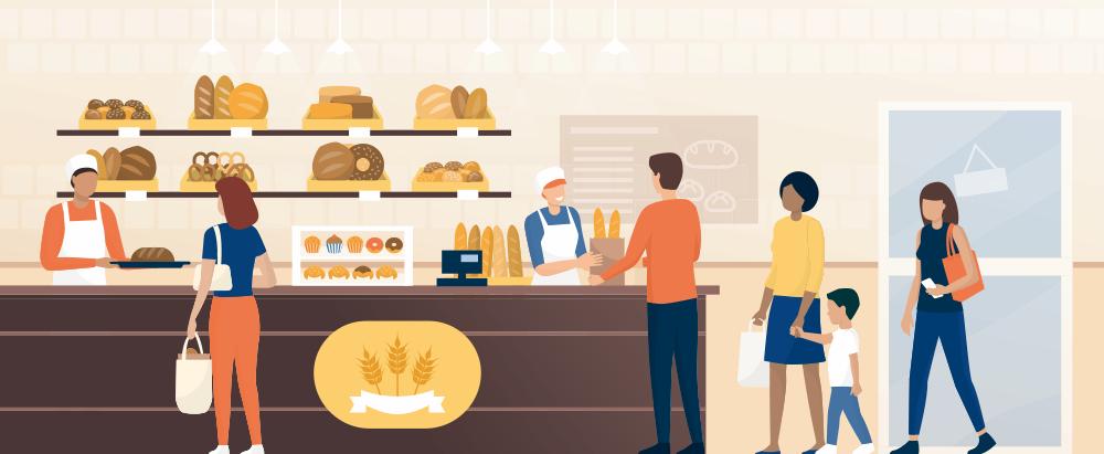 パンを買う人が描かれたイラスト