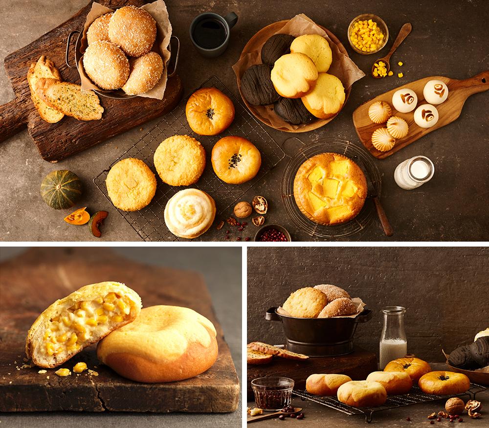 上の画像:サムソンパンジプの色々なパンが並んだ様子_左下の画像:トウモロコシパン_右下の画像:トウモロコシパン3個とあんぱん2個が網の上に置かれている