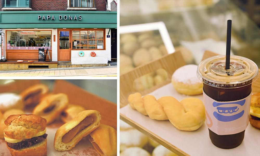 左上の画像:PAPA DONAS解放村店の全景_左下の画像:並んだスコーンアンバター、餡ドーナツ_右の画像:ねじり棒ドーナツとアイスアメリカ―ノの写真