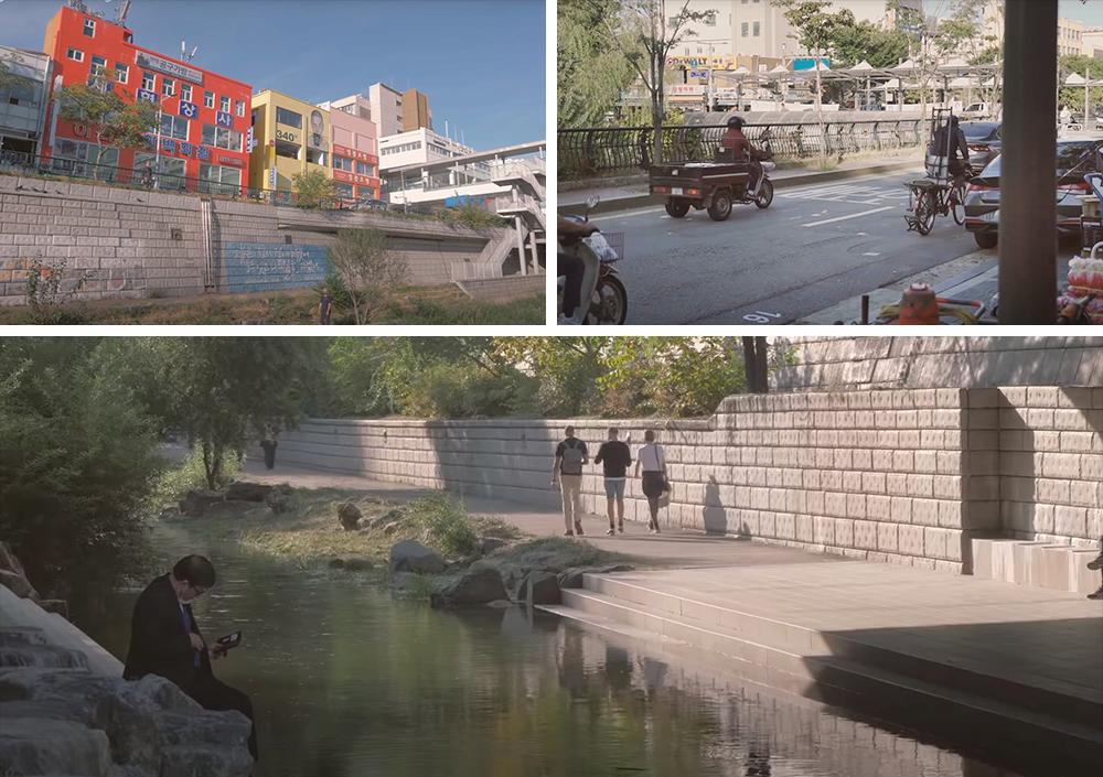 チョンゲチョン(清渓川)周辺とチョンゲチョン(清渓川)通りをバイクや自転車が車と一緒に走る姿を撮影した3種類の写真のコラージュで構成