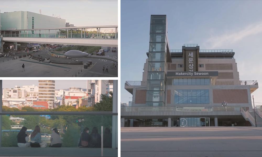 照片1:世运商街,照片2:世运商街的人群,照片3:世运商街周边和外观
