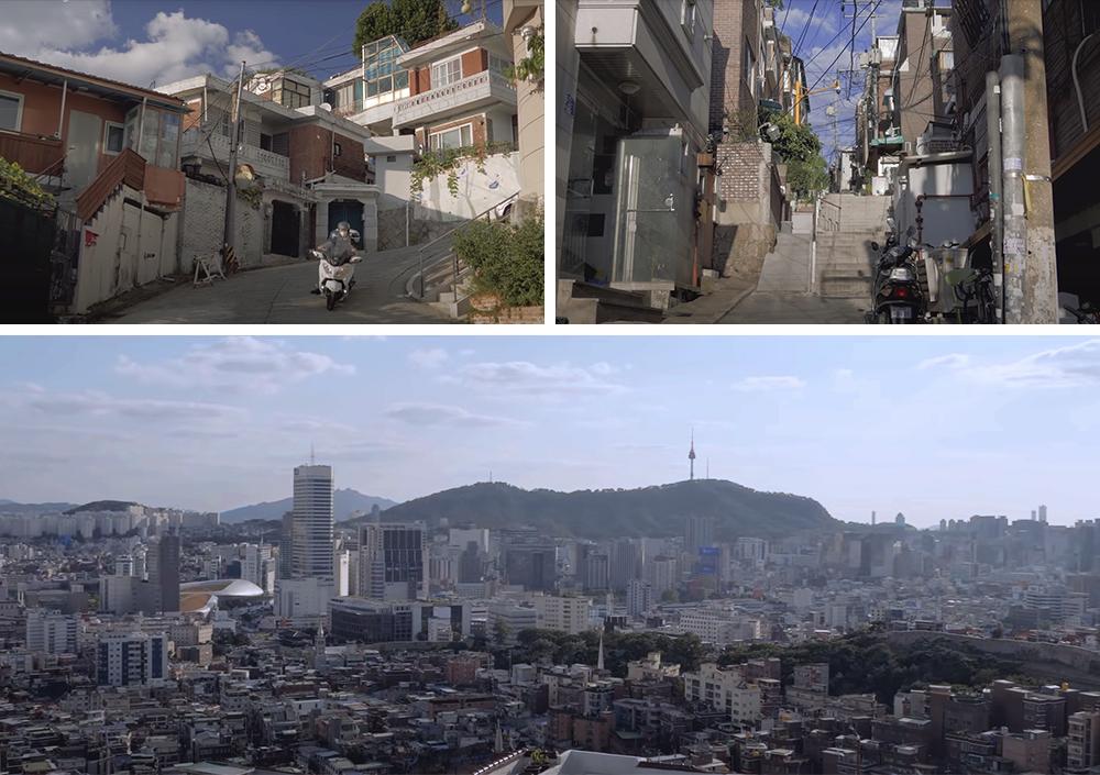チャンシンドン(昌信洞)にある絶壁村の姿と眼下に広がるソウルの街並みを撮影した3種類の写真のコラージュで構成