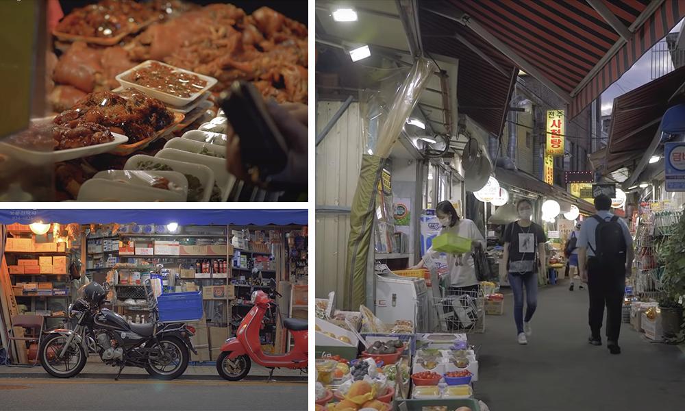 Фото еды на рынке Чансин. Фото мотоциклов припаркованных вдоль улицы рынка. Фото гуляющих по рынку среди прилавков людей