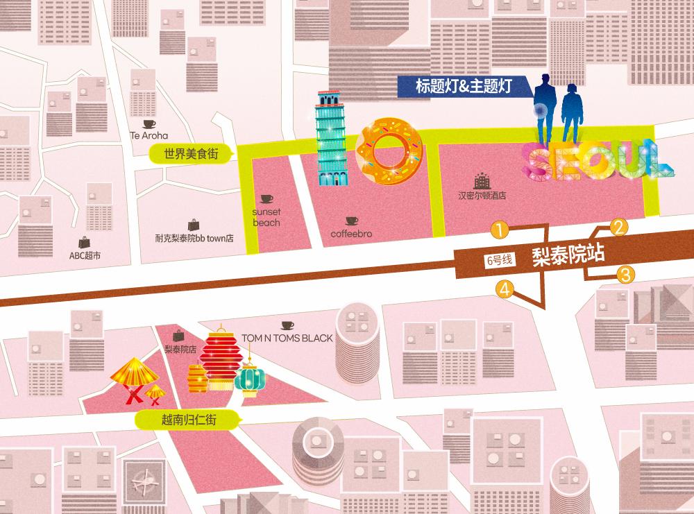 可以在下方的梨泰院旅游特区来访路线中查看