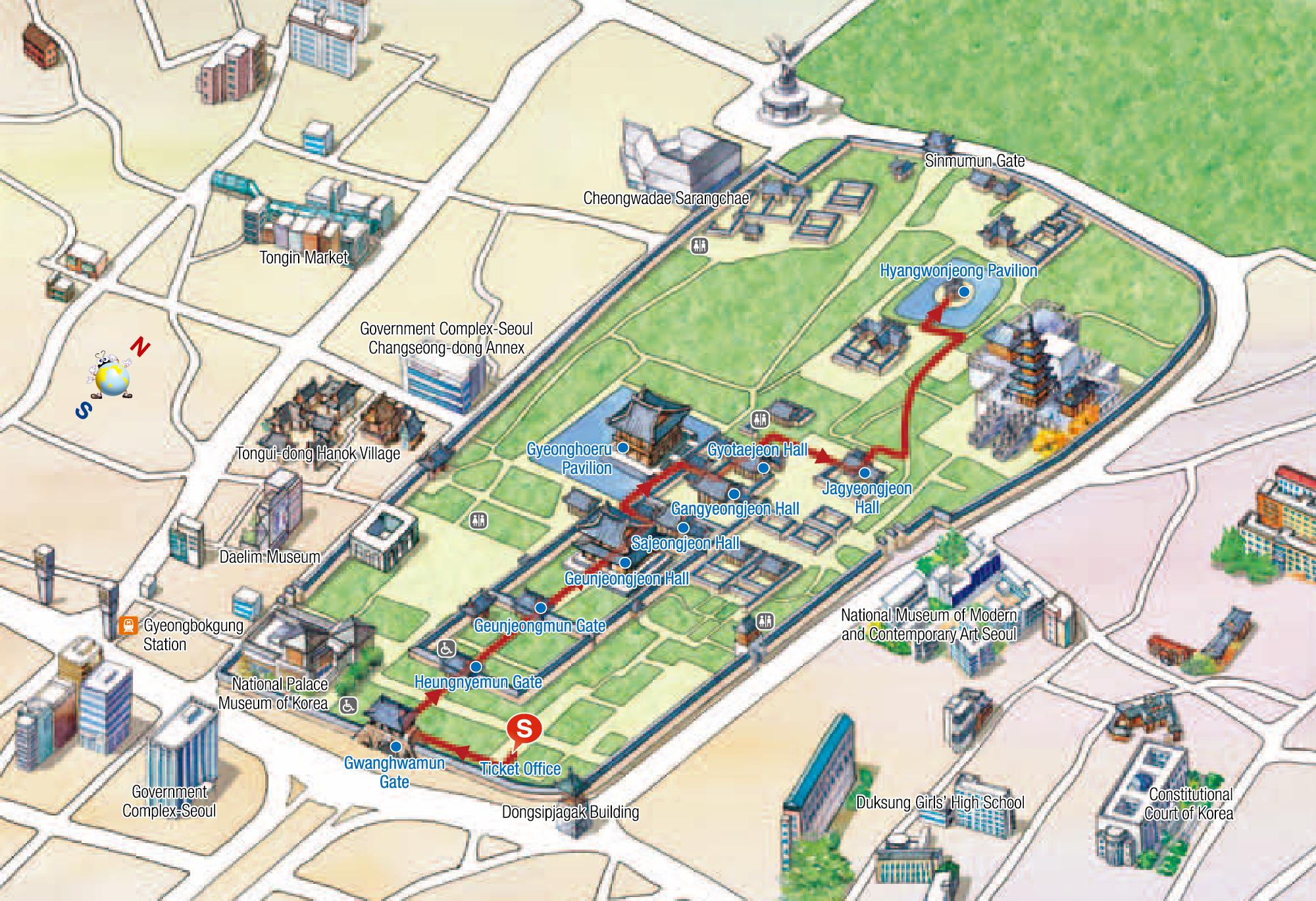 Route: Gwanghwamun (Main and South Gate) - Heungnyemun (Second Inner Gate) - Geunjeongmun (Third Inner Gate) - Geunjeongjeon (Imperial Throne Hall) - Sajeongjeon (Executive Office) - Gyeonghoeru (Royal Banquet Pavilion) - Gangnyeongjeon (King's Quarters) - Gyotaejeon (Queen's Quarters) - Jagyeongjeon (Late Queen's Quarters) - Hyangwonjeong (Hyangwonjeong Pavilion)