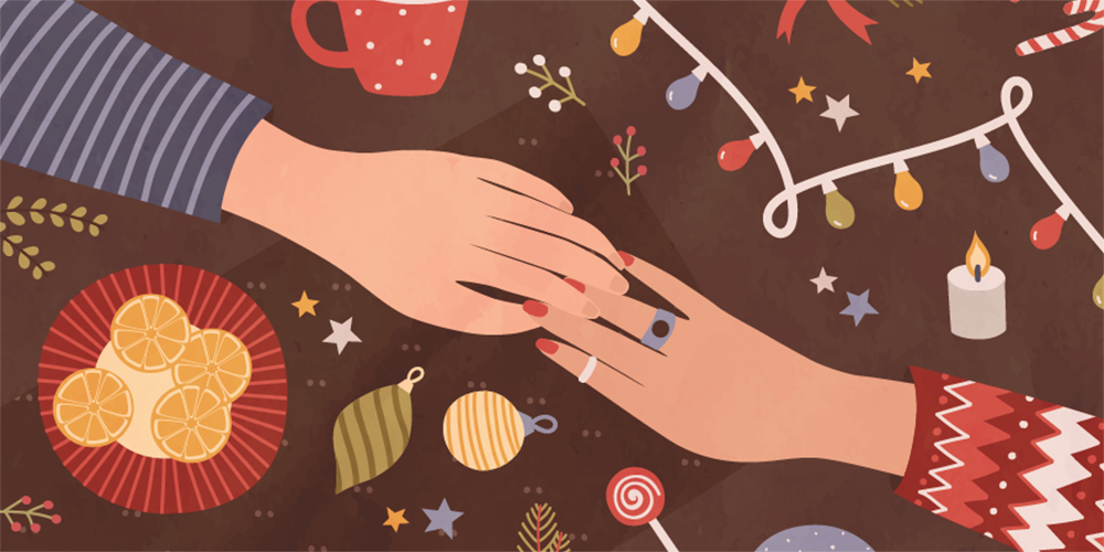 Illustration filled with autumn colors and ornamets and Christmas lights with the hands of a couple meeting in the middle