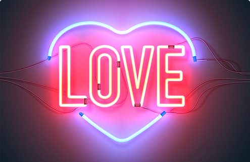 A blue and red neon sign that reads Love