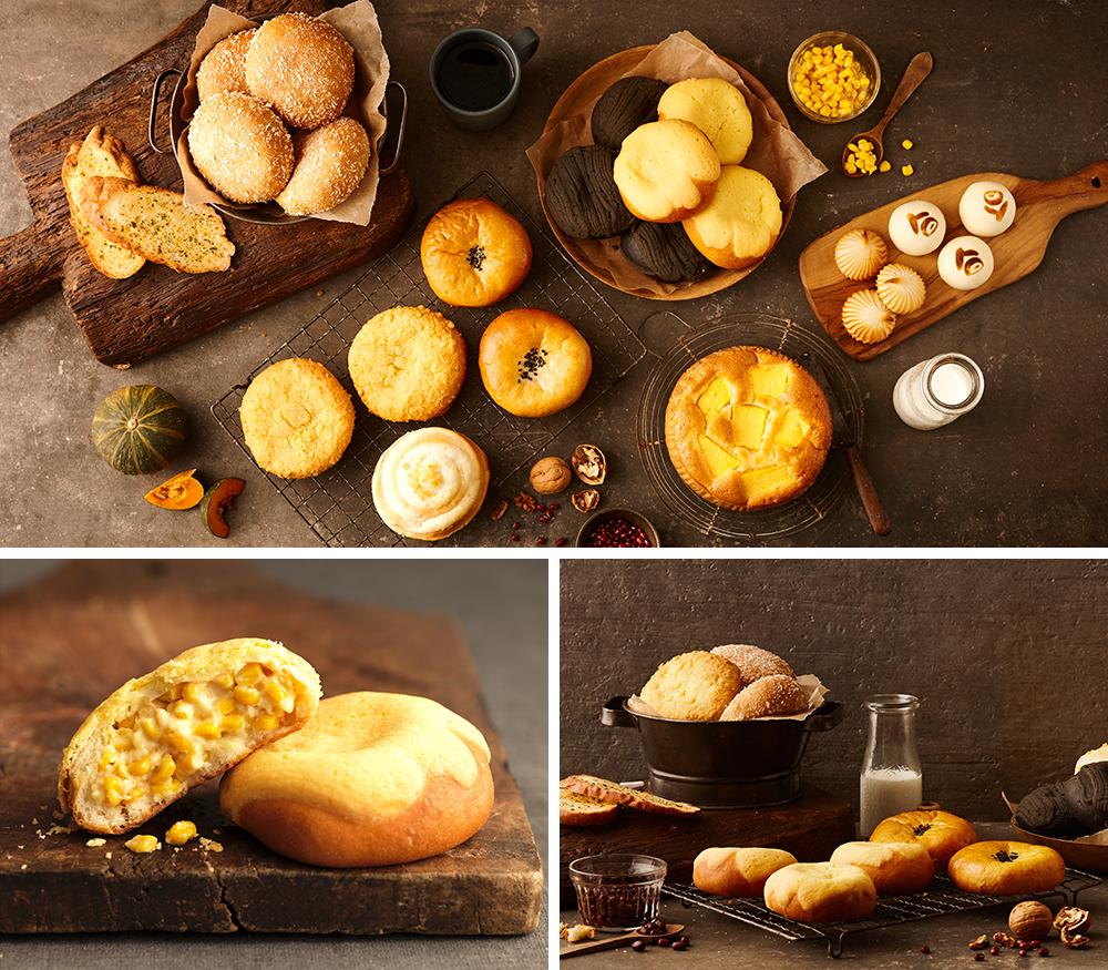 사진 3개의 조합.삼송빵집의 여러 종류의 빵들이 진열된 모습.