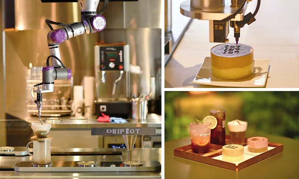 사진 3개의 조합.카페 봇봇봇에서 로봇이 커피를 만들어주는 모습들 사진과 완성된 사진.