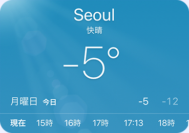 A weather app screen showing the current temperature at -5 degree celcius