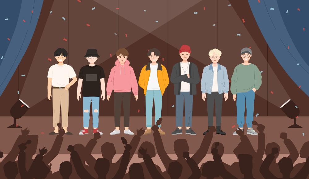 七位偶像站在舞台上的插圖