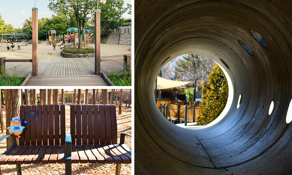 左上:首爾林林中遊樂區景色、左下:Visit Seoul Bae-B與長椅的合照、右邊:首爾林林中遊樂區SUGA拍海報的圓形管道