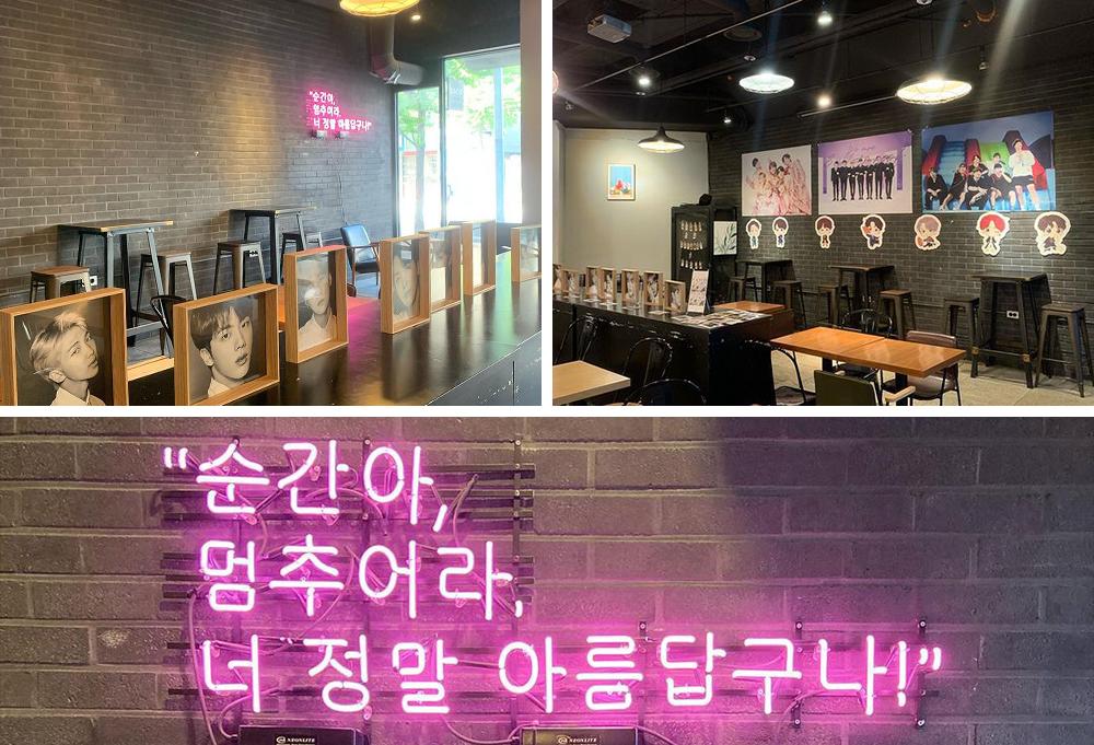 左上:gather cafe內部霓虹燈與BTS七位成員大頭照的照片、右上:gather cafe內部貼著BTS海報與卡通人偶的牆、下方:寫著「瞬間停止,你真的很美麗」的霓虹燈照片