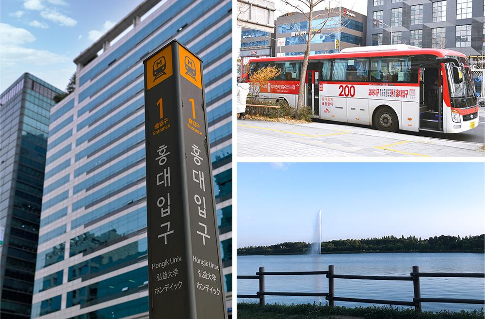 Коллаж из трех фото. На первом показан столб, на котором указан 1 выход Станции Хондэ-ипку. На втором фото показан красный междугородний автобус номер 200. На третьем фото показан Озерный Парк Ильсан.