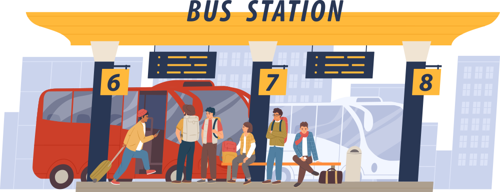 An illustration of people waiting at a bus station at gates 6, 7 & 8 with a red bus pulling up to board passengers