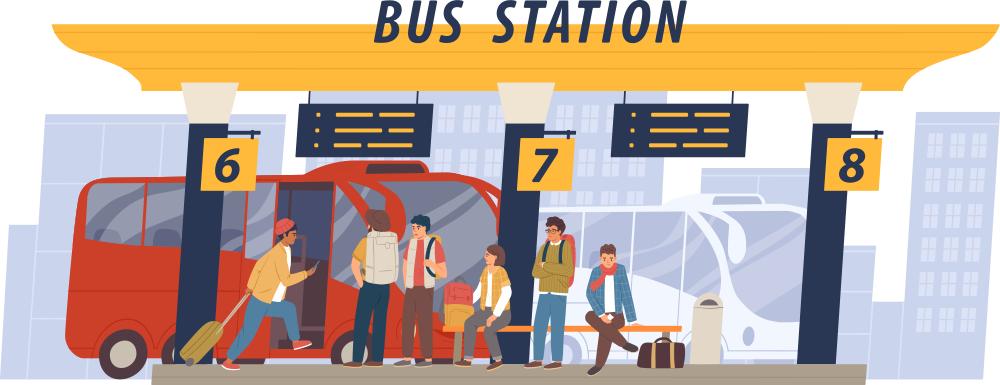 Иллюстрация автобусной остановки с платформами 6, 7 и 8, где стоят и сидят на лавке туристы перед междугородним красным автобусом.