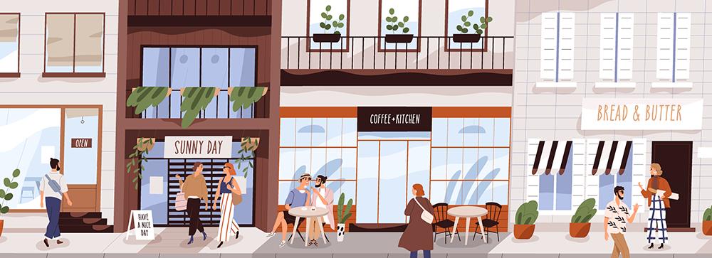 Иллюстрация улицы с выставленными в ряд магазинами вдоль которых гуляют или сидят отдыхая люди