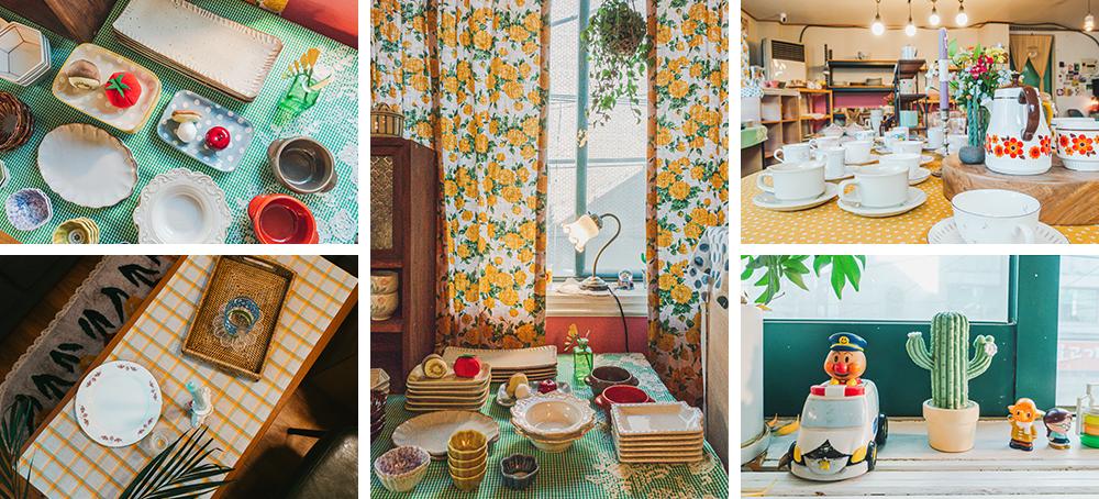 Коллаж из фото на которых изображена различная продукция доступная в магазине Porong Porong, такая как чашки, блюдца, подносы и различные статуэтки, выставленная на показ.