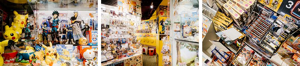 Коллаж из трех фото на которых изображены различные аниме товары в магазине Anseodang