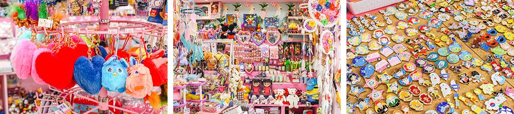 Коллаж из трех фото на которых изображены различные товары в магазине Lolli Pony