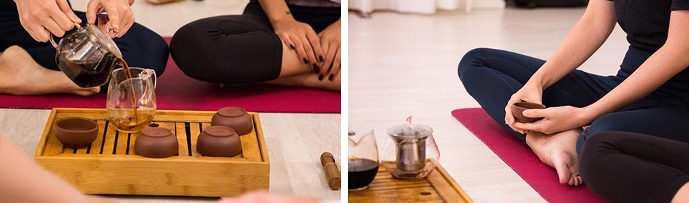 左:在一日排毒瑜伽课上喝茶,右:做瑜伽的人们的照片