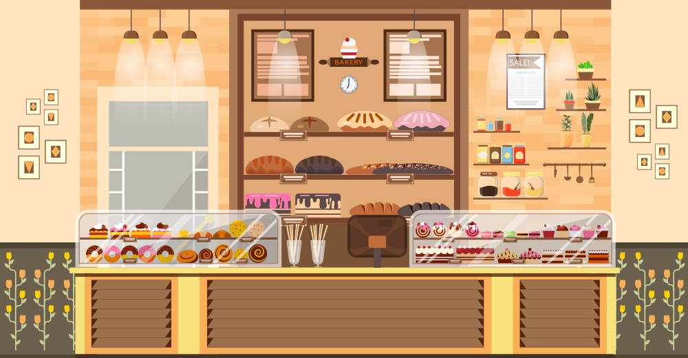 ケーキやドーナツ、パンが陳列されている様子を描いたイラスト