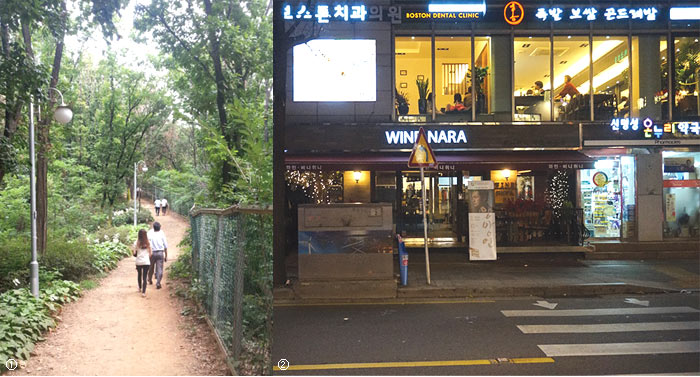 Left picture: Walking trail image nearby Seoripul Park, Right picture: Night scenery of a shoplots at Seorae Village